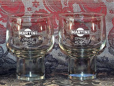 Vintage Pair 'Martini on the Rocks' Heavy Based Glasses  Tumblers  - 240 ml