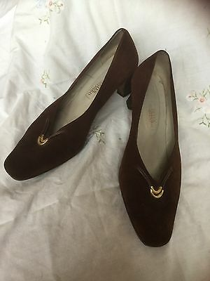Brown Suede Peter Sheppard Vintage Style Shoes Size 40.5