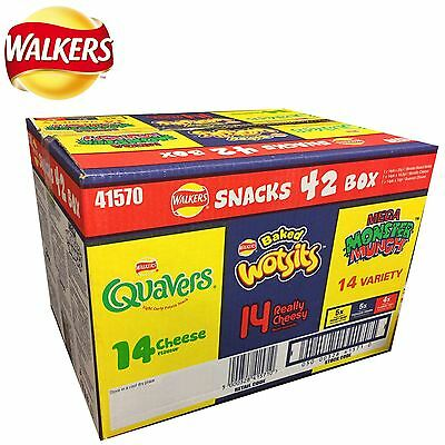 Walkers Snacks 42 Variety Pack Crisps Box Quavers Wotsits Mega Monster Munch