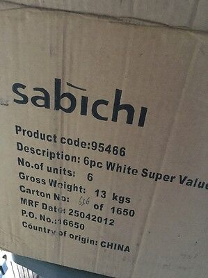 Sabichi 6pc White Super Value Mug Set Job Lot 6 Units Wholesale