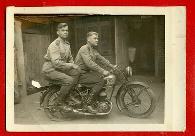 """Latvia Lettland Soldiers And Motorcycle """"nsb"""" Vintage Photo Card 4851"""