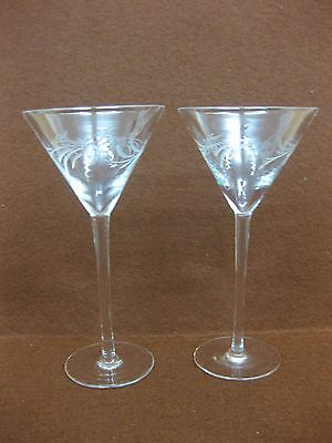 Pair of Beautiful Fine Vintage Cocktail Glasses ~ Etched Decoration
