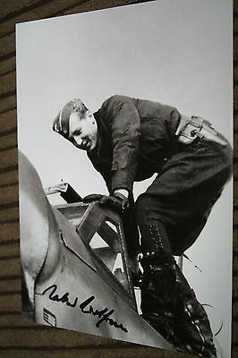 Luftwaffe Day Fighter Ace Knights Cross Signed Photograph Wolfrum