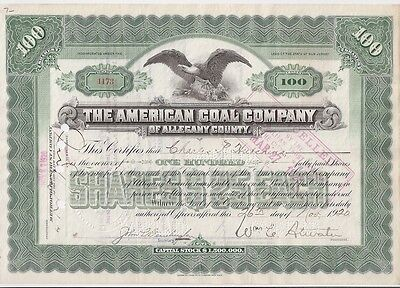 The American Coal Company(Of Allegany County)...1920 Stock Certificate