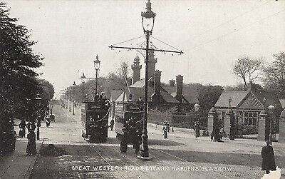 Great Western Road & Botanic Gardens, Glasgow, Trams, old postcard, unposted