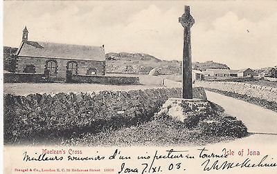 Maclean's Cross, Isle of Iona, Hebrides, Scotland, old postcard, posted 1903