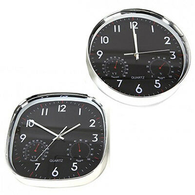 30Cm Chrome Wall Clock With Thermometer & Hydrometer Kitchen Hanging Glass New