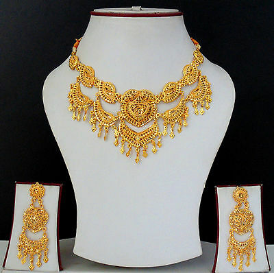 Indian Fashion Jewelry Traditional Necklace Earrings Gold Plated Bollywood Set