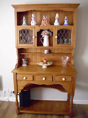 Rustic Solid Pine Dresser Country Kitchen Style Leaded Glass