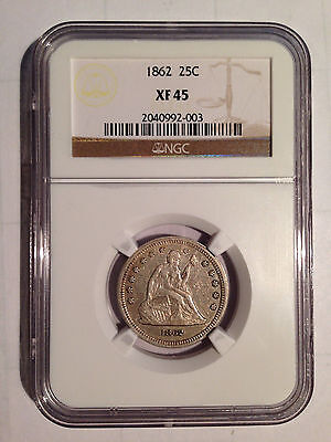 1862 NGC XF45 - Seated Liberty Quarter 25C
