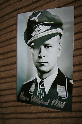 Luftwaffe Day Fighter Ace Knights Cross Signed Photograph Bob