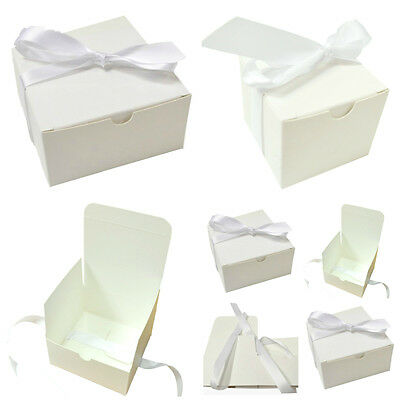 10 x White Gift Box with Ribbon Jewellery Wedding Chocolate Candy  Flat Packed