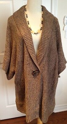 Lovely Ladies Brown Knitted Lagenlook Sweater Plus Size 2X 22W 24W
