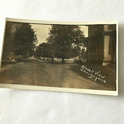 Very early postcard Sherbrooke Village N.S. Gas Station Street View Antique Car