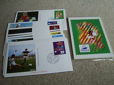 France '98 World Cup Pack of 10 postcards + 10 First Day covers with stamps etc