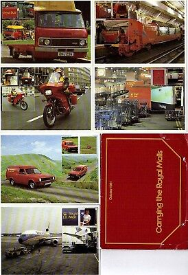 1981 Carrying The Royal Mail Set All 6 Mint / Unused Postcards In Wallet