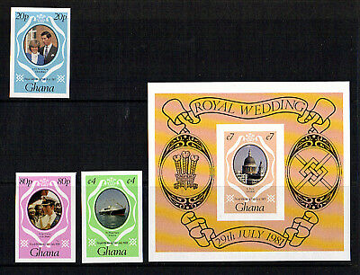 Ghana 1981 Royal Wedding Set Stamps + Miniature Sheet Imperforate Mnh