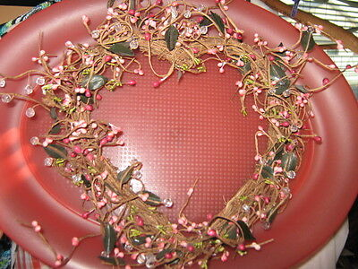 """Heart Shaped Pink Pip Berry Wreath Faux Crystal Beads 10"""" x 10"""""""