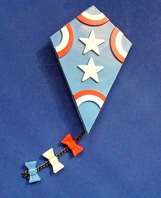 Buy3/Get1FREE~Avon Pin FLY-A-KITE Stars & Stripes Vtg 1970s Childs Jewelry