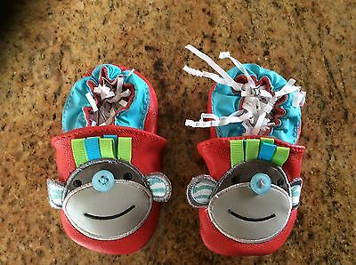 Mud Pie~Baby crib shoes~everyday~Safari Monkey Soft~Genuine Leather~Slip-on~NEW~