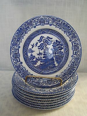 Blue Willow Bread Dessert Plates Set of 8 Marked EIT England