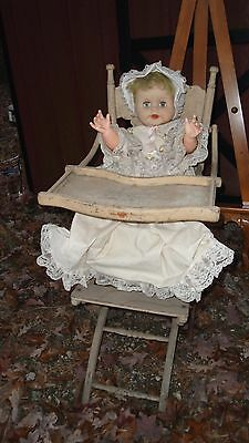 VTG victorian Antique Oak Wood Childs Baby High Chair w/doll