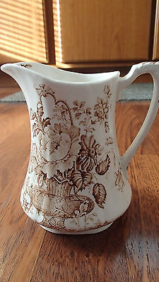 "Alfred Meakin Pitcher ""Charlotte"" Staffordshire England White & Brown 6"" Tall"