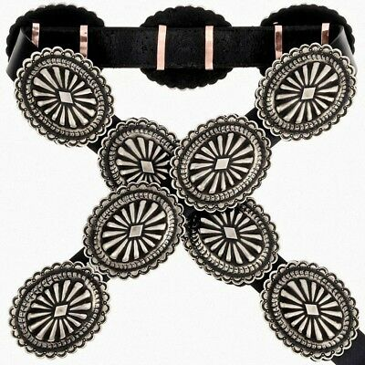 NAVAJO Handmade Hand-stamped First Phase Nickel Silver Concho Belt LAST ONE!