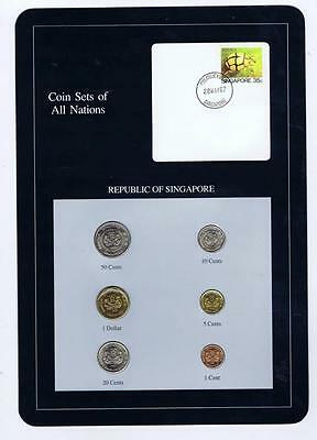 Republic of Singapore 6 pc Mint set 1986-88 BU Coin Sets of All Nations stamp