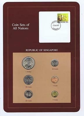 Republic of Singapore 6 pc Mint set 1984-87 BU Coin Sets of All Nations stamp