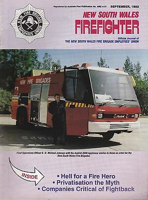 New South Wales (Australia) Firefighter Journal - September 1992