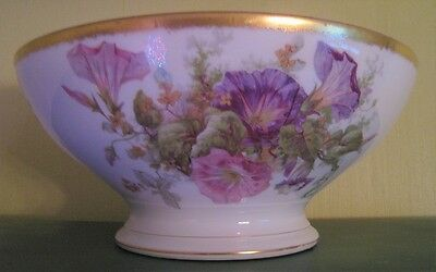Large late 19th Century French Limoges T&V Tressemanes Vogt Floral Punch Bowl