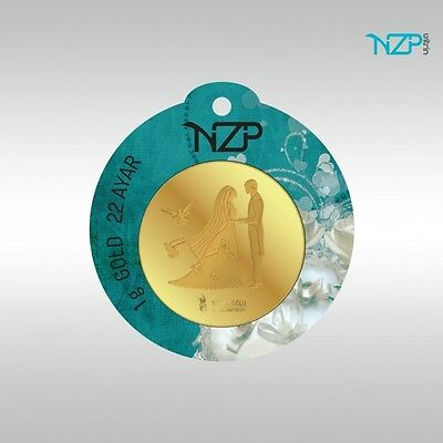 NZP Lingot OR (Gold) 22K 1 gramme  l'or pur. 916 - Chanceux d'or Mariage