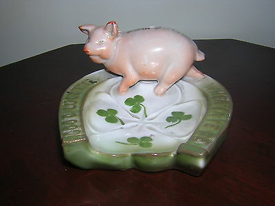 GERMAN PIG FAIRING OF A LUCKY PIG on a HORSESHOE TRAY