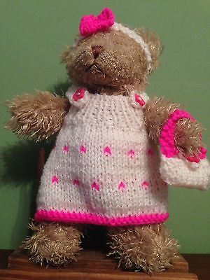 """Hand Knitted teddy bear Clothes Fits Approx 8""""to 9""""bear"""