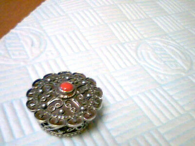 Vintage;ornate ;indian Silver;embossed;pill Box;stmp