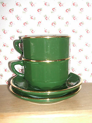 "2 Apilco French Green Gold Bistro Ware Coffee Tea  3¾"" Cups And Saucers"