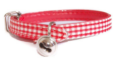 "Pet Palace ""Clothcat"" Red Cat Safety Collar with gingham tablecloth design"