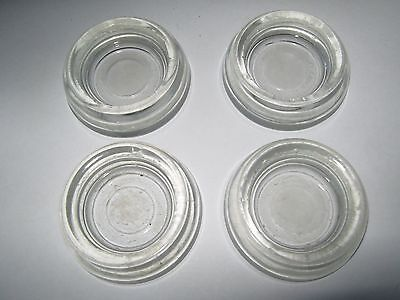 Vtg Lot Set 4 Clear Thick Glass Furniture Coasters Floor Protectors Caster Cups