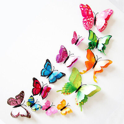 Fashion 3D DIY Wall Sticker Stickers Butterfly Home Decor Room Decorations Xmas