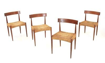 4 VINTAGE 1970s DANISH PAPER CORD DINING CHAIRS