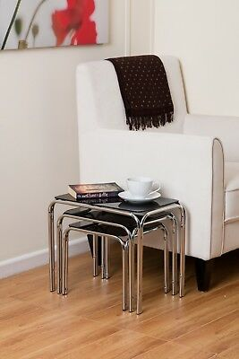 Set Of 3 Rectangle Nesting Tables with Clear Glass Chrome Legs- GNT01C