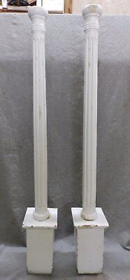 Pair Antique Round Fluted Fireplace Mantle Interior Columns Capitals Vtg 181-17R