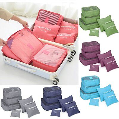 6 PS Clothes Underwear Socks Packing Cube Storage Travel Luggage Organizer BagMP