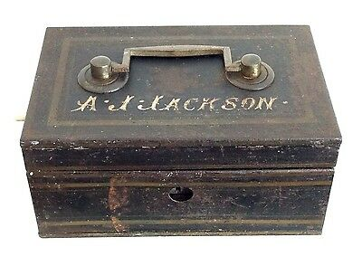 Vintage Antique Deed Document Cash Box Sign Writing Name