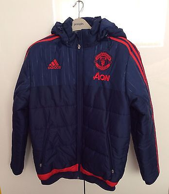 Mens Manchester United Blue Adidas Padded Jacket Size Small