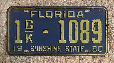 Good Solid 1960 Florida  License Plate  Free Shipping See My Store