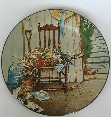 "Norman Rockwell Toleware ""Spring Flowers"" Collector Plate 1985"