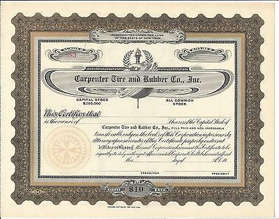 Carpenter Tire And Rubber Co. Inc.....unissued Stock Certificate