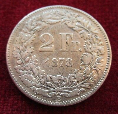 Swiss 1878 B Switzerland Silver 2 Francs Coin - 9.5g